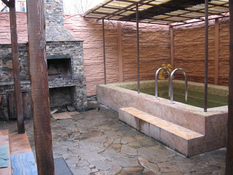 VIP-баня на дровах фото бассейна на летней площадке